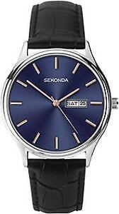 Sekonda Men's Blue face day/date Black Leather Strap Watch 1701
