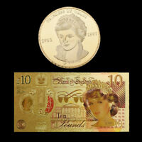 WR Royal Rose Princess Diana 10 Pound Note & Gold Coin Collectibles Gifts