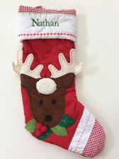 Pottery Barn Kids Red Reindeer Gingham Quilted Stocking Name NATHAN New