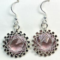 SS Spirograph Wire-Wrapped Crystal Earrings