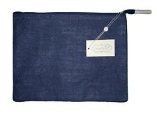 Solid Jute Carry-All Case, Cosmetic Bag, Clutch Navy  Plain  NEW