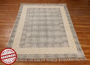 Indian Handmade Block Printed Area Rug Outdoor Yoga Mat New Cotton Dhurrie 5x8