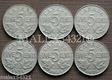 CANADA 1931 TO 1936 GEORGE V 5 CENTS SET (6 COINS) NICKEL CIRCULATED
