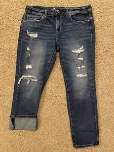 """American Eagle AEO Destroyed Slouchy Womens Jeans Size 6 Reg  x26.5"""" inseam EUC"""