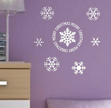 MERRY CHRISTMAS vinyl Quote Snowflakes winter holiday decal sticker wall art MS2