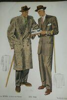 GRAVURE de MODE Paris- été 1946 signé Hamjic.