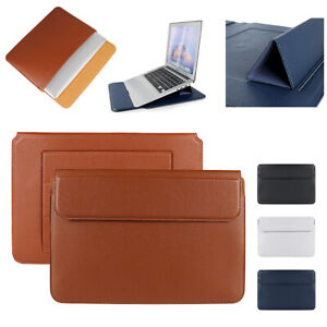 """For MacBook Air 13"""" Pro 16"""" Leather Laptop Sleeve Carrying Bag Case Stand Cover"""