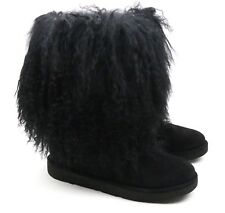 UGG Australia Lida Mongolian Sheepskin Suede Black Furry Boots 1017516 US 5 NEW