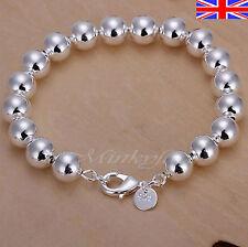 "Silver 925 Sterling 8mm Ball Bead Bracelet Bangle 8"" Free Gift Bag"