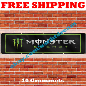 Monster Energy Drink Banner 2x8ft Flag Man Cave Wall Decor Large Banner NEW