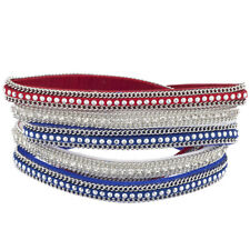 Lux Accessories Red White Blue Independence Day July 4th Magnetic Wrap Bracelet