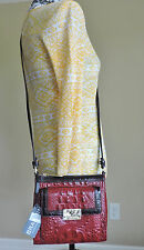 Brahmin Mimosa Carmine Red Dark Brown Trim Croc Embossed Cross Body Purse NWT