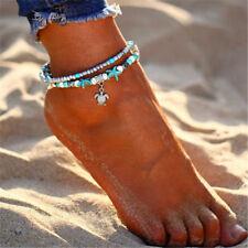Femme Étoile de mer Tortue Plage Pendentif Turquoise cheville Bracelet de pied