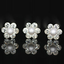 Lot 20 pcs Pearl/White Diamante Crystal Hair Pins Clips Prom Wedding Bridal Fine
