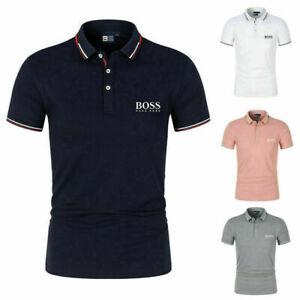 BOSS1 Herren Poloshirt Kontrast Kragen Kurzarm Freizeit Hemd Polohemd T-Shirt