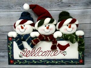 "Christmas Winter Holiday Welcome Sign Wall Hanging Snowmen 13"" x 10"" wood fleece"