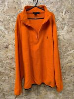 Men's NAUTICA 1/4 Zip Neck Fleece Jumper Pullover Size XL ORANGE Vintage VTG