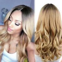 Women Ladies Blonde Ombre Hair Full Wig Cosplay Black Root Long Curly Wigs