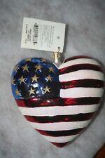 Christopher Radko Brave Heart 9/11 American Flag Red Cross Glass Xmas Ornament 1