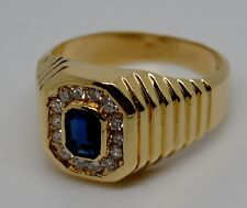 VINTAGE 14K YELLOW GOLD SUPPHIRE AND DIAMONDS SIGNET RING SIZE 8