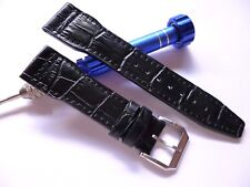 21mm Black Leather Band Buckle - Leather Watch Strap - IWC Style