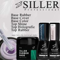 SILLER Gel Nails BASE / TOP Rubber, Cover, Color, Fiber, Shine, Holografic, Opal