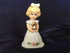 Vintage Enesco 1981 Growing Up Girls Birthday Age 2 Blonde Porcelain Figurine