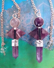 2  AMETHYST 6 SIDED 3 CRYSTAL PENDULUM SET, DOUBLE TERMINATED POINT, 2 POUCHES