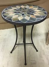 Retro Vintage Style Mosaic Wrought Iron Plant Garden Table Taupe Grey Cream NEW