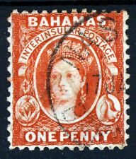 BAHAMAS Queen Victoria 1882 1d. Scarlet-Vermilion Wmk Crown CA P14 SG 42 VFU