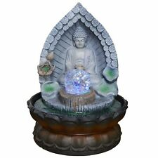 Buddha In Archway Water Fountain With Light And Crystal Ball Perfect Indoor Wate
