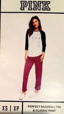 VICTORIA'S SECRET PINK BASEBALL TEE AND CLASSIC PANT SET XSMALL NEW IN BOX