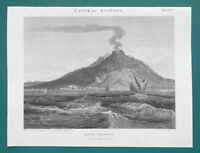 VESUVIUS ERUPTION of 1797 Seen from Bay of Naples - 1820 A. REES Antique Print