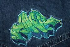 Vintage JNCO Jeans Baggy Loose Jeans Men's Size 32 x 30 Blue Green Logo RARE!