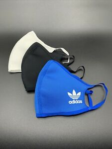 Three Pack Adidas Blue White Black Originals Face Mask Cover Adult Size Large