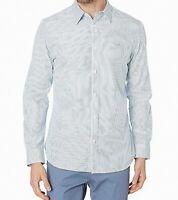 Calvin Klein Mens Shirt Blue White Large L Button Down Pinstriped Slim $69 236