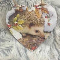 Handmade Decoupaged large wooden hanging heart headgehog Christmas decoration