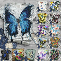 Women Summer Short Sleeve T Shirt Blouse Ladies 3D Butterfly Printed Casual Tops