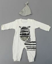 PatPat Boy's Playful Zebra Long Sleeve Cotton Jumpsuit W/Hat CK6 White Size 0-3M