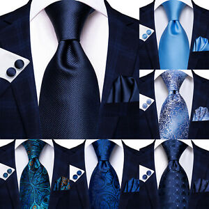Geometric Mens Navy Blue Tie Striped 100%Silk Woven Necktie Paisley Wedding Ties