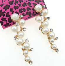 Fashion Betsey Johnson Women Gift Rhinestone Pearl Charm Jewelry Earrings Sweet