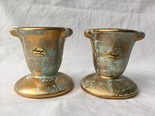 Stangl #5070 Antique Gold Aqua Candlestick Holder 22 Kt. Gold Art Pottery