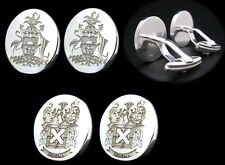 PERSONALIZED SIGNET CUFFLINKS FAMILY CREST LOGO LARGE STERLING SILVER BY JOLLER