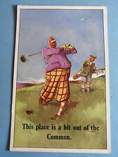 Comic Postcard 1930s Golf Course Theme THIS PLACE IS A BIT OUT OF THE COMMON
