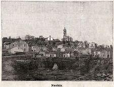 NUCHIS: Panorama. TEMPIO PAUSANIA.Gallura.Olbia-Tempio.Sardegna. Stampa Antica.1