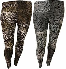 PLUS SIZE FULL LEOPARD PRINT LEGGINGS WOMENS ANIMAL PRINT STRETCH LEGGINGS 16-26