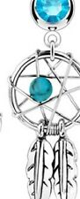 316L Surgical Steel Dream Catcher Navel Belly Ring w/dangle feathers AQUA