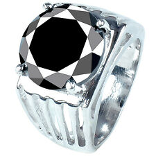 10.70 ct AAA BLACK ROUND CUT SOLITAIRE .925 SILVER MEN'S RING see video