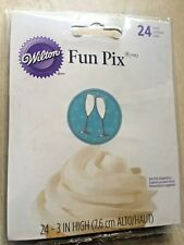 New Wilton Pack of 24 Fun Pix Cake Decoration Picks – Champagne Flute 7.6cm High