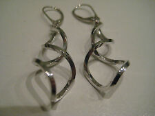 9ct white gold double swirl 50mm drop earrings NEW ARRIVAL ON PROMOTION